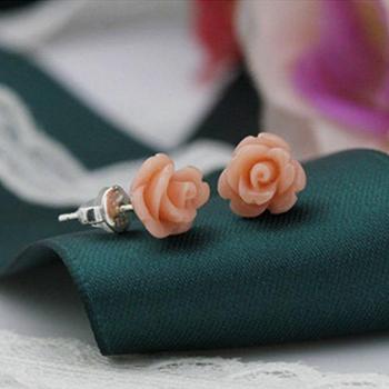 99纯银耳钉 女气质耳环日韩国风简约耳丁 红色玫瑰花防过敏耳饰品