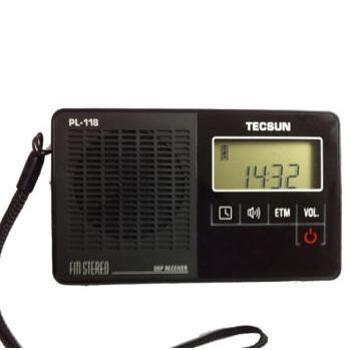 德生(Tecsun)PL-118 收音机 老年人 校园广播 袖珍 便携式 调频FM 老人立体声半导体 开关机闹钟(黑色)