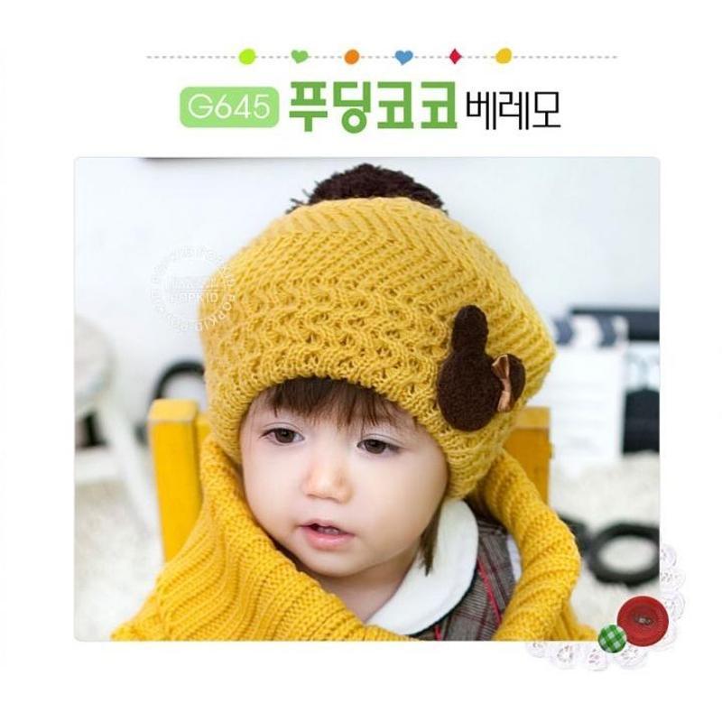 贴标小熊儿童毛线帽 婴儿帽子护耳帽贝雷帽