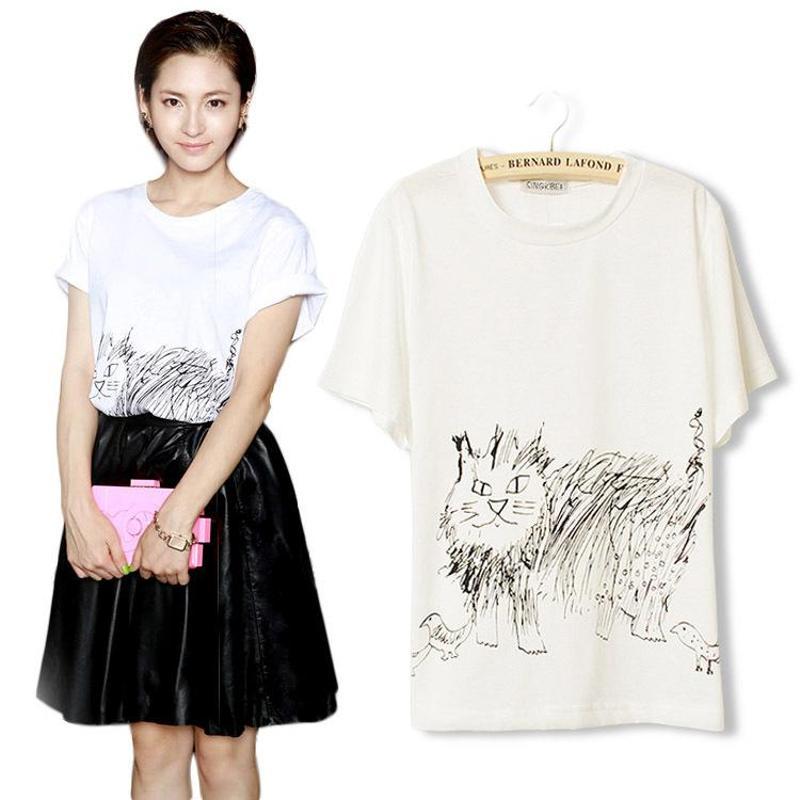 n4716 2014夏季新款简笔画猫咪图案圆领t恤