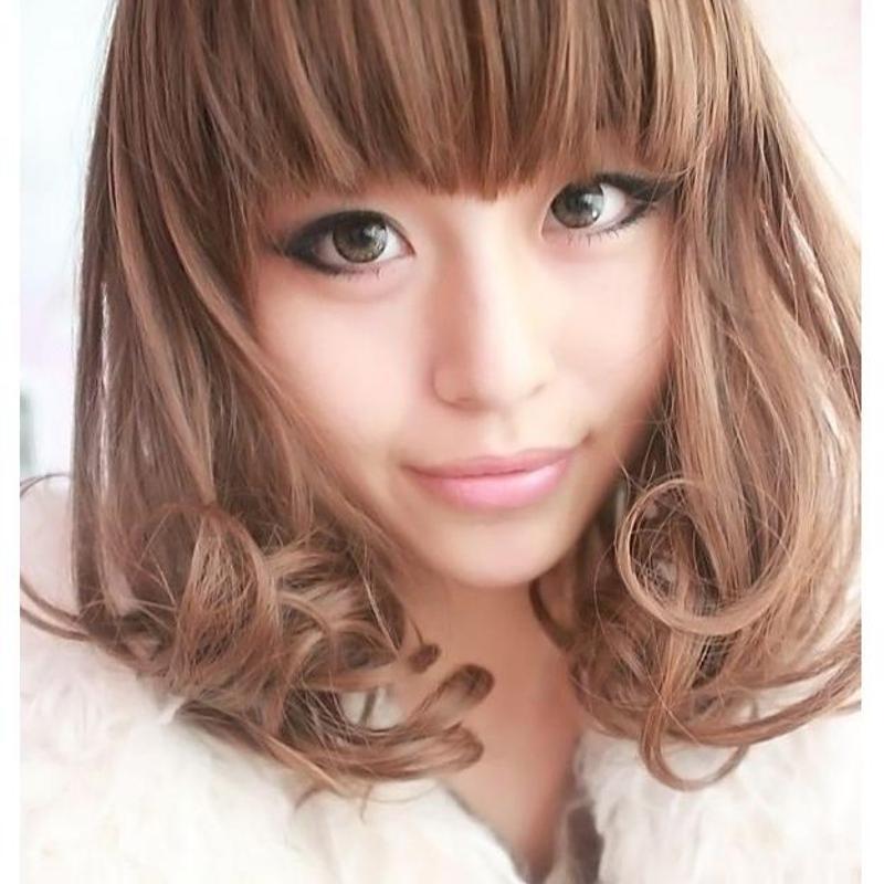 假发女时尚甜美中长梨花头微卷齐刘海修脸梨花头图片