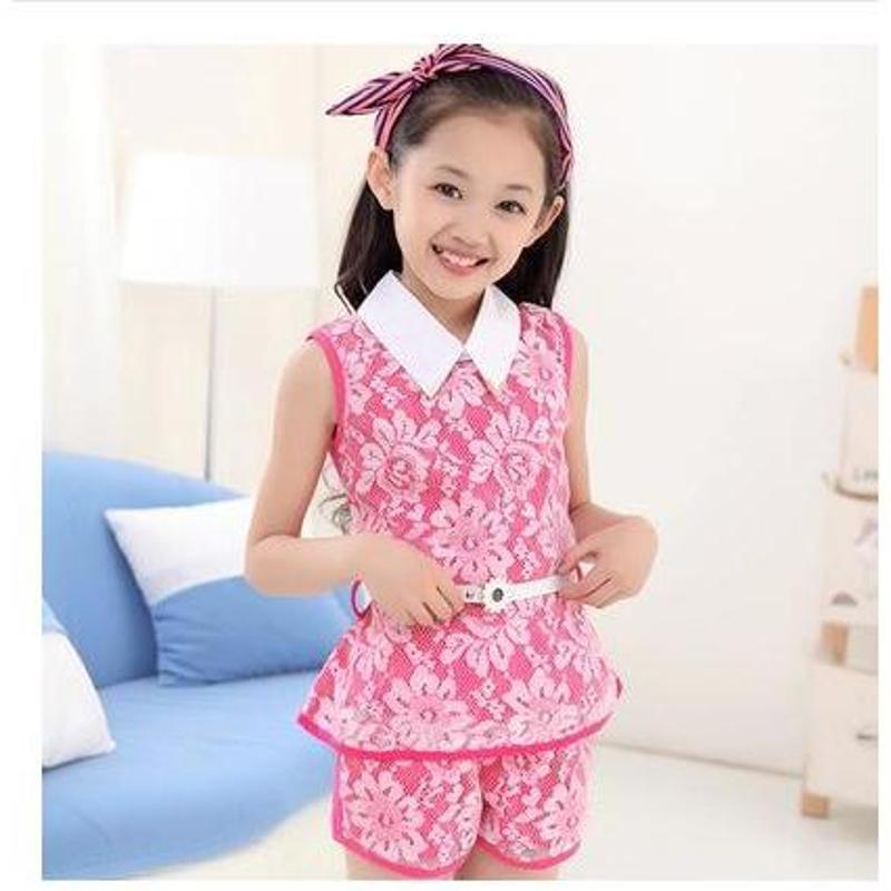 童装女童夏装套装薄款韩版2014新款儿童短袖蕾丝运动
