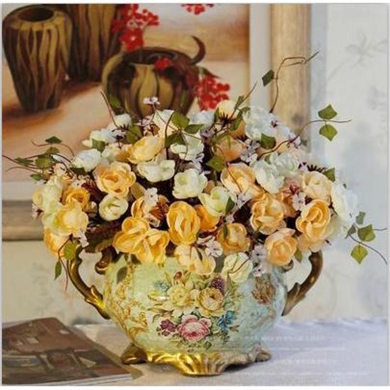 【-欧式】客厅花瓶 餐桌花瓶 欧式乡村高仿真花套装 家居装饰乔迁摆件