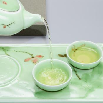 欧圣美 浅草绿茶具 手绘荷花功夫茶具套装 陶瓷茶壶茶杯茶盘(4件套 M-6935)
