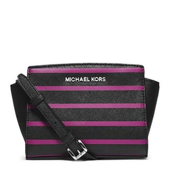 MICHAEL KORS 迈克.科尔斯 MK 女包 女士MINI包 笑脸包 单肩包 斜挎包 32F4SLRC1R 黑玫红拼色