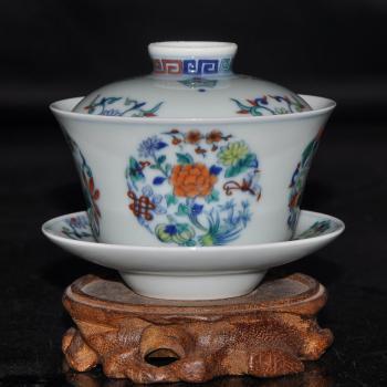 淘瓷缘景德镇手绘青花斗彩瓷器茶具品茗盖碗三才杯【富贵美满】