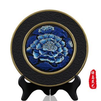 神州绿岛 活性炭富贵芙蓉炭雕摆件 蓝芙蓉炭盘 除甲醛净化空气 除异味抑菌