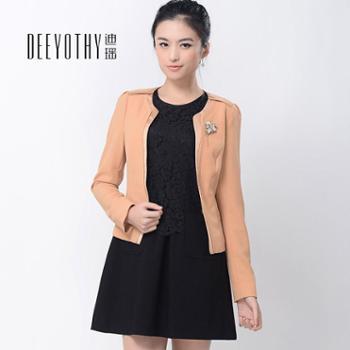 迪瑶2014年春装新款一粒扣百搭小外套修身OL圆领胸针短上衣长袖