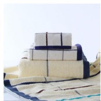 金号家纺 纯棉方格毛巾方巾浴巾3件套 9106