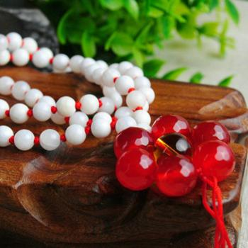 明熙珠宝天然白砗磲红玉髓项链手链白砗磲红玉髓多层手链佛宝之首开运辟邪