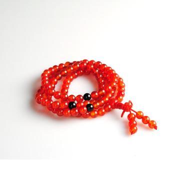 明熙天然AAA正品108颗红玛瑙吉祥佛珠手链天然水晶经典红玛瑙佛珠手链手串