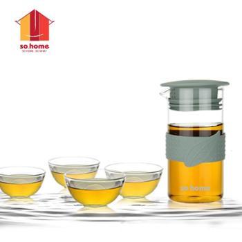 sohome 耐热玻璃花草茶具花茶壶泡茶壶创意可爱泡茶杯 一壶四杯 益之源茶具套装