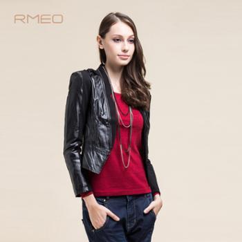 浪漫一身2013秋装新款时尚修身显瘦拼接女上衣百搭长袖高领纯色短外套女装8231117
