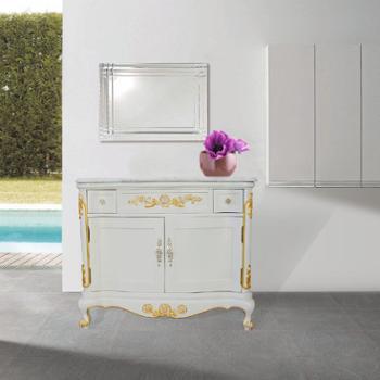 高档正品进口白玉天然大理石浴室柜HB-J118落地包邮