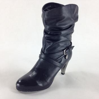 Tata/他她 黑软牛皮女皮靴