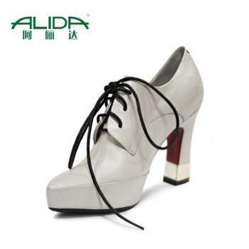 阿俪达2014年 秋季新款 系带复古高跟女鞋胎牛皮尖头优雅粗跟单鞋