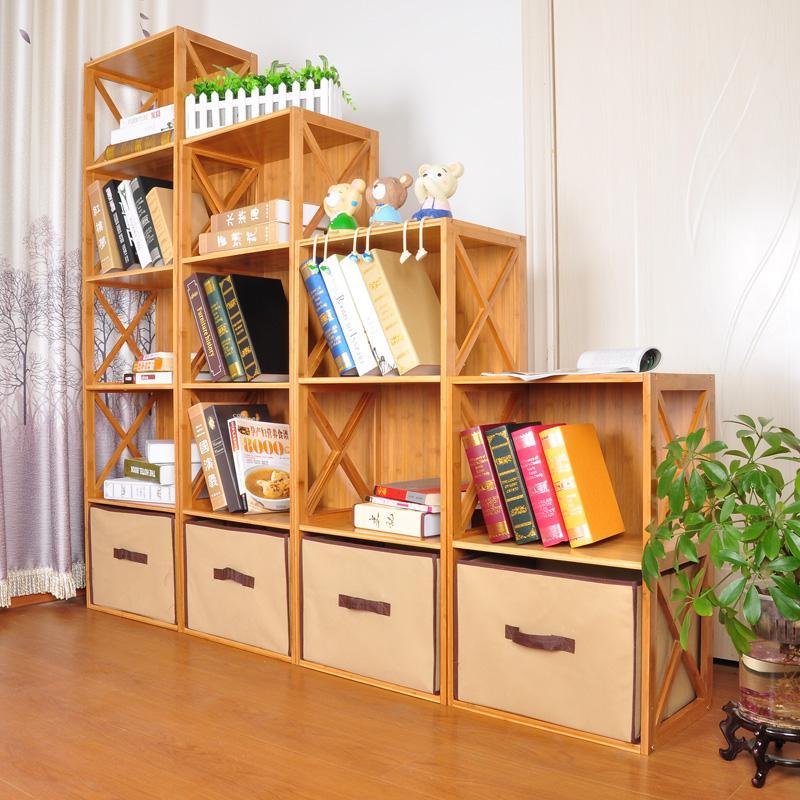 竹庭儿童书柜自由组合简易书柜宜家书橱实木收纳创意书柜储物柜子