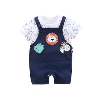 依尔婴婴儿春季男女儿童0-4岁背带裤套装潮WCF463