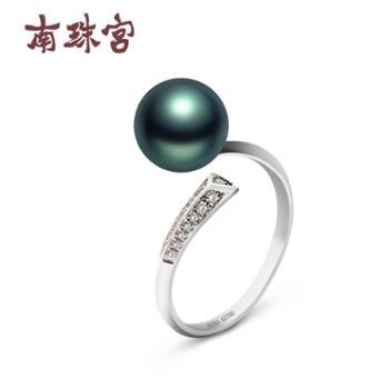 南珠宫定情海水珍珠戒指18K金正圆8.0-9.0mm小清新轻奢款