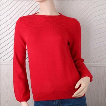鄂尔古纳13年秋冬新款女士一字领红色浅灰色泡泡袖简约休闲纯羊绒衫货号:101819