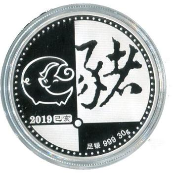 2019(猪)年生肖银质纪念章(圆形)