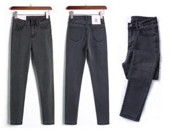牛仔裤女秋冬高腰韩版显瘦显高加绒小脚薄绒九分女士裤装