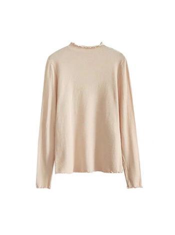 薄款木耳边半高领针织衫秋季女内搭打底衫糖果色毛衣