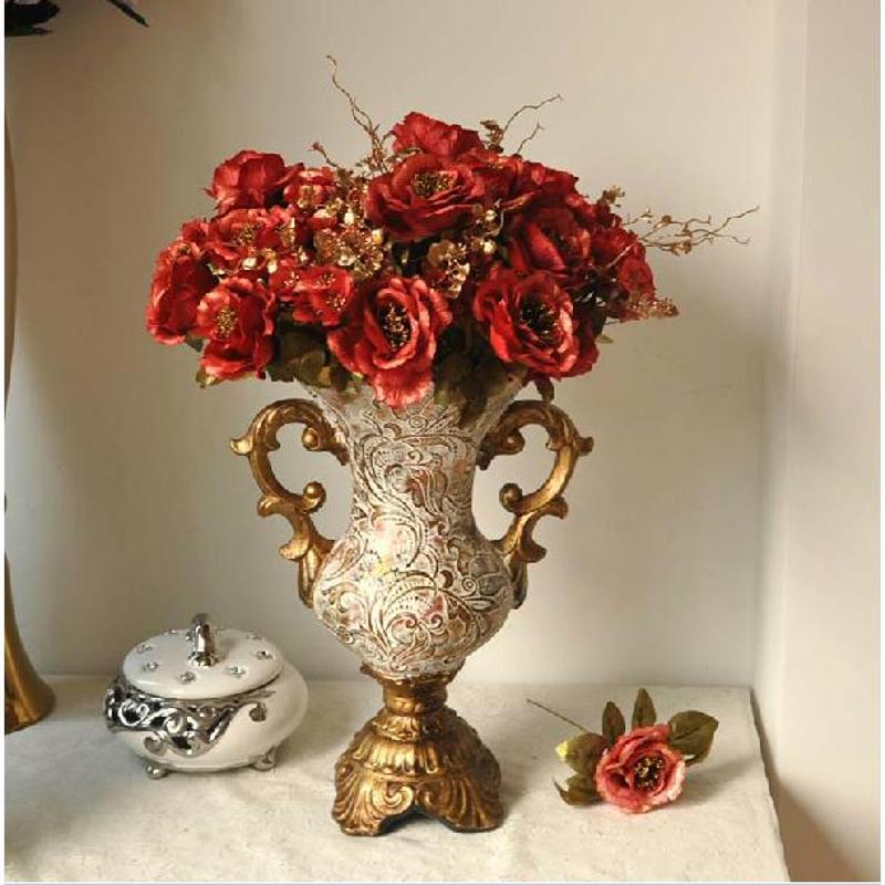 红叶 欧式古典陶瓷花瓶 家居花插摆件