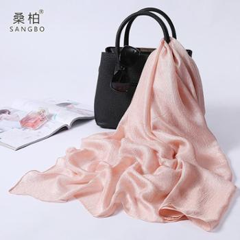 桑柏 纯色雪纺丝巾女长款防晒沙滩巾空调披肩 浅粉