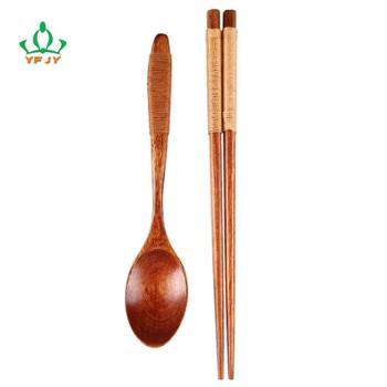 便携木餐具套装 卡其缠线铁木筷 楠木汤勺 环保健康向上 勺子筷子一套