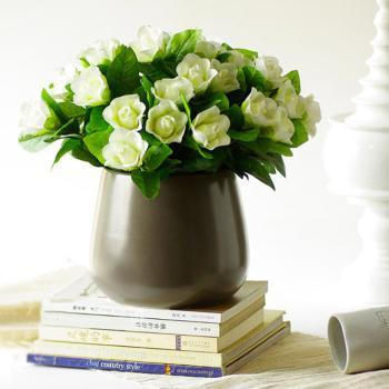 INJA印家优品熊野钵式简约暖灰瓷花瓶(中号)