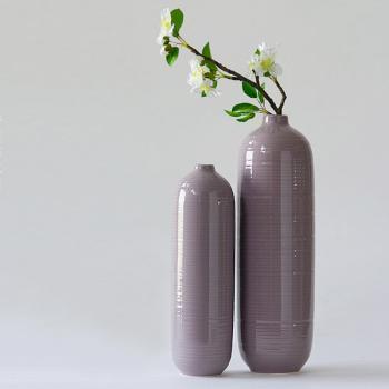 INJA印家优品 卡文螺纹细口禅意套二花瓶 紫色