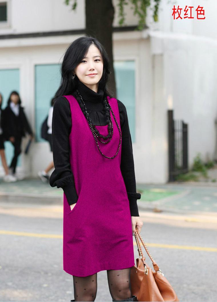 韩版2013秋装新款女装时尚大码气质OL秋冬薄羊毛呢无袖连衣裙女