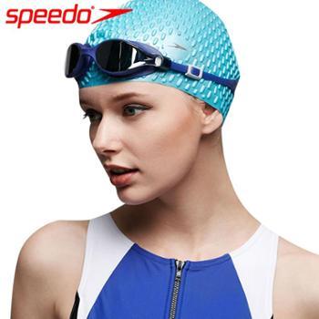speedo速比涛414005/8-70929硅胶防水长发游泳帽泡泡泳帽舒适不勒头时尚