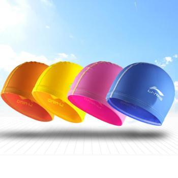 李宁儿童游泳帽 防水防滑硅胶 男童女童小孩青少年 训练泳帽