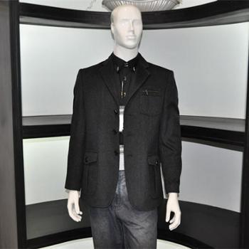 2013圣巴奈特男款黑色羊绒休闲西装翻领单排扣A1160