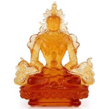 礼之源阿弥陀佛长寿佛 古法琉璃密宗佛教摆件 开光风水家居摆设品