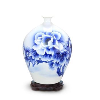 aj12景德镇欢畅陶瓷器 青花瓷手绘石榴小花瓶插花器 客厅家居摆件