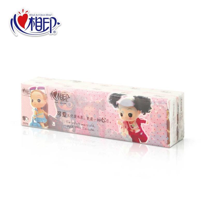 C2910 心相印手帕纸 冬已系列卡通面巾纸小纸巾 3层10片 10包图片