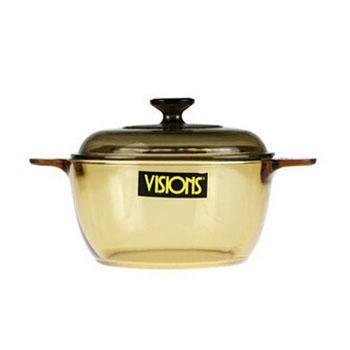 美国进口 康宁晶彩透明玻璃锅 明火直烧耐热汤锅VS-1.5L