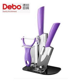 德铂/DEBO DEP-263森贝格(套装刀具) 陶瓷刀刀具套装4件套:鱼鳞刀 水果刀 刨刀 刀架