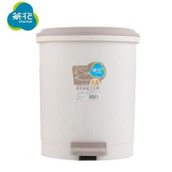 茶花 1501塑料脚踏式垃圾桶 双层带内桶 家用/卫生间/办公室垃圾筒 9.6L