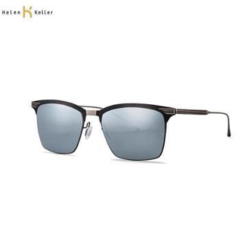海伦凯勒男款太阳镜黑框+梦幻水银镀膜镜片HD11H8651