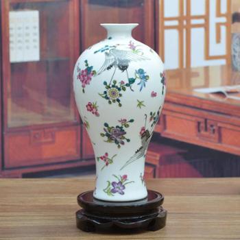 傲世瓷业景德镇陶瓷器古典夜光瓷花瓶工艺品客厅摆件家居装饰品夜光鹤舞H1008