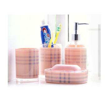 动动手进 口亚克力卫浴4件套漱口杯牙刷架 香皂碟 乳液瓶礼盒装(粉色格款)