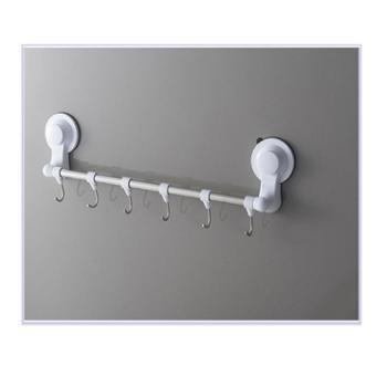 浴室毛巾架免打孔浴巾杆挂钩卫生间厨房厕所双杆吸壁置物架吸盘式
