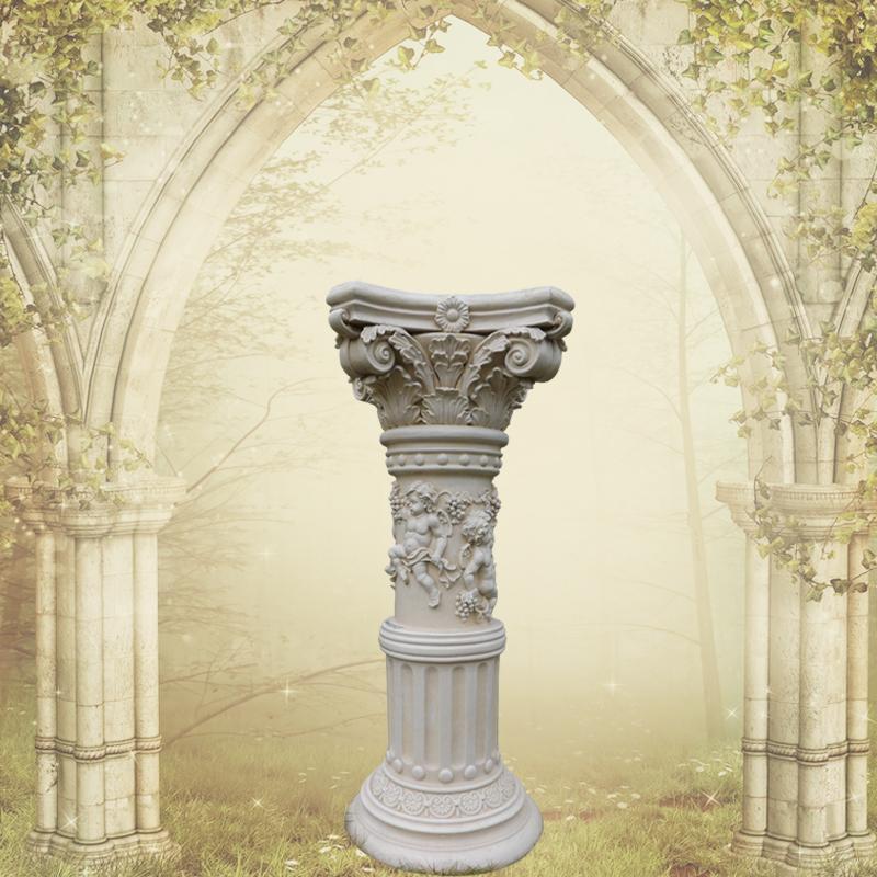 欧式花园天使花纹圆形柱子园林别墅酒店咖啡厅ktv