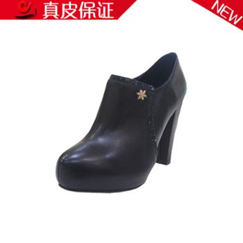 菱光2013新款女鞋真皮短靴女秋冬高跟欧美裸靴防水台靴子BW2K6881