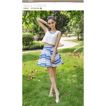 2014夏新款可可尼品质条纹压褶百褶裙短裙半身裙子女342F1090012