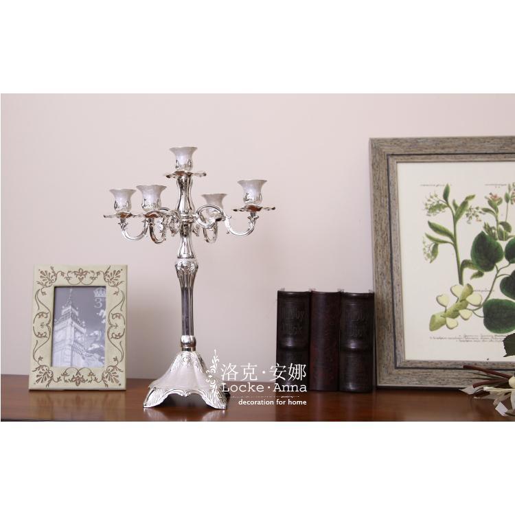 欧式美式古典银色高档5头烛台餐桌酒柜壁炉
